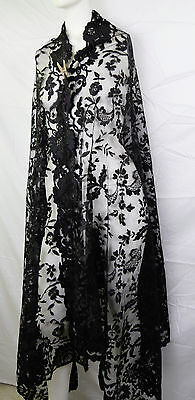 Antique Victorian 1880s LARGE LOVELY Black Lace Shawl Bustle Era