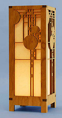 """Frank Lloyd Wright COONLEY HOUSE MINI LIGHT LAMP 11.5"""" Etched Wood USA MADE"""