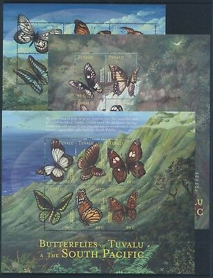 2000 Tuvalu Butterflies Of The South Pacific Set Of 3 Sheetlets Fine Mint Mnh