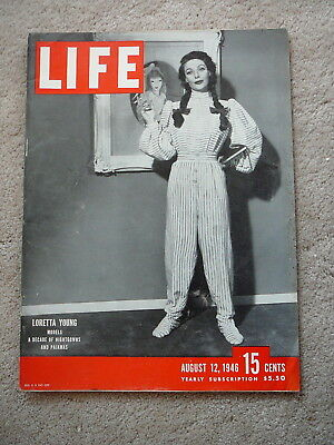 LIFE MAGAZINE - AUGUST 12 1946 - LORETTA YOUNG a DECADE of NIGHTGOWNS & PAJAMAS