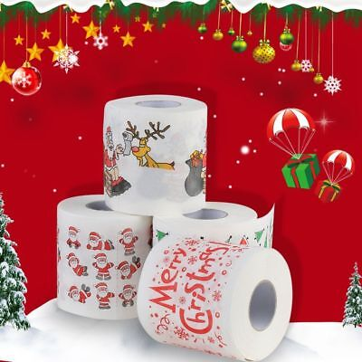 Santa Claus Printed Merry Christmas Toilet Paper Tissue Table Room Home Decor US