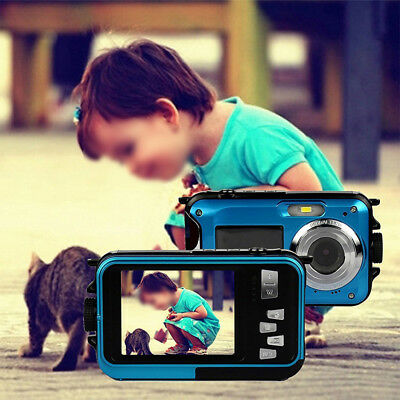Peacock Blue Dual-display Camera Waterproof Digital Camera Novelty Christma Gift