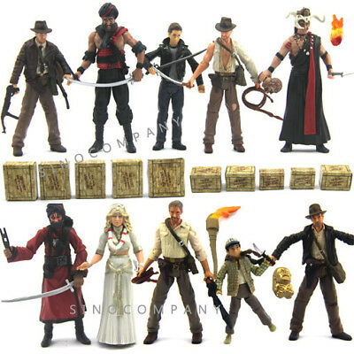"Lot 10pcs INDIANA JONES Collectible Raiders of the Lost Ark 3.75"" Figure Boy Toy"