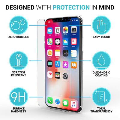 1/2/5 Pcs Tempered Glass Protective Screen Protector Film For iPhone X 7 8 Plus