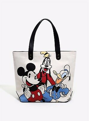 Brand New Disney Mickey and Friends Donald Goofy Loungefly Canvas Tote Bag Purse