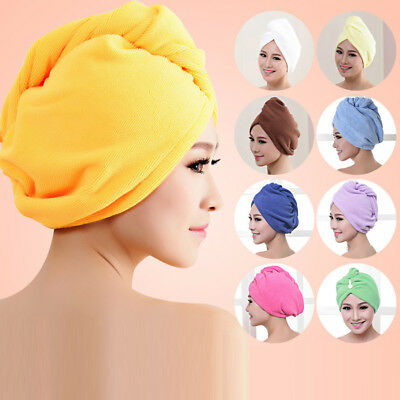 Microfibre Bath Towel Women Quick Hair Drying Turban Wrap Hat Cap Bathroom Tool