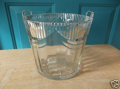 Vintage Clear Glass Ice Bucket with Stand Up Handles and Draping Design