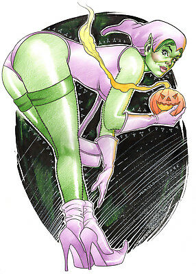 GREEN ELF BY MARCELO MUELLER- ART PINUP Drawing Original