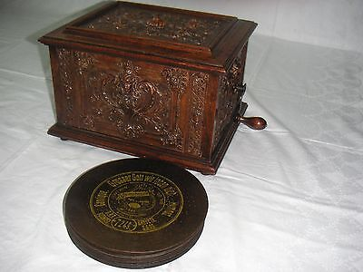 "Rococo Black Forest Symphonion mit 30 Platten antique discs 7 5/8"" music box"