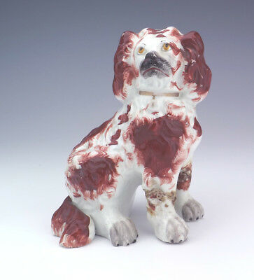 Antique Staffordshire Pottery Oxblood Spaniel Dog - Damaged But A Rare Model!