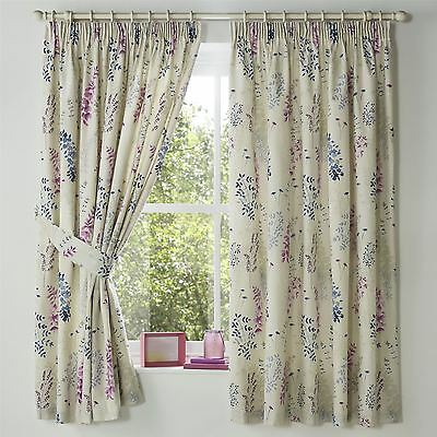 "Watercolour-Style Leaves Blue Lined 66""x72"" - 168X183Cm Pencil Pleat Curtains"