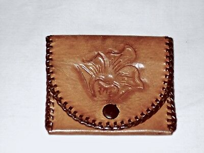 Vintage Retro Floral Hand Tooled Leather Coin Purse Flap/Snap Hippie~BoHo