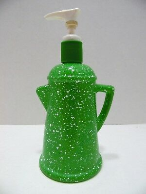 Vintage Avon Soap Lotion Dispenser Country Style Coffee Pot Green Spatter