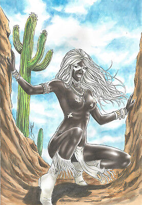 WEST CROW BY JON- ART PINUP Drawing Original