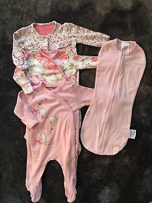 Girls Newborn MOTHERCARE Sleepsuit Rompers & Swaddle Pod