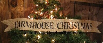 """= 34"""" FARMHOUSE CHRISTMAS Glittered BURLAP * Primitive Country SIGN Banner TUCK"""