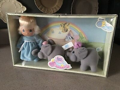 New NIB Precious Moments Soft Body Vinyl Head Doll NOAH Ark w/ Two Elephants