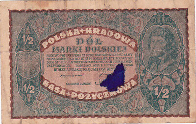 1/2 Marki Vg Banknote From Poland 1920!pick-30