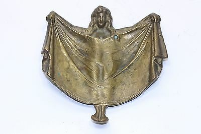 Vintage Art Deco Brass 2 sided Sexy Woman Flashing Trinket Dressing Change Tray