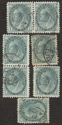 Stamps Canada # 75, 1¢, 1898, lot of 7 used stamps.