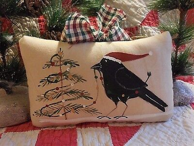 Hand Painted Folk Art Crow Decorating His Christmas Tree Primitive Pillow Tuck