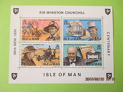 Isle Of Man 1974 Birth Centenary Of Sir Winston Churchill Mini Sheet U/mint
