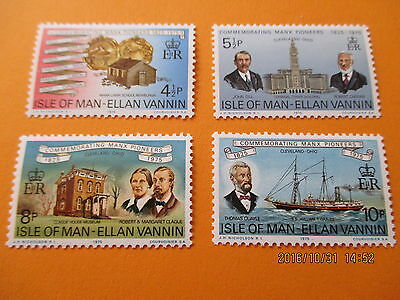 Isle Of Man 1975 Manx Pioneers In Cleveland Ohio Set Of 4 U/mint Free Postage