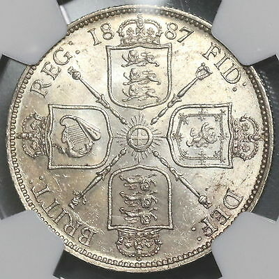1887 NGC MS 63 Victoria Silver Florin Jubilee Head GREAT BRITAIN (16010304D)