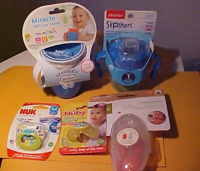 7 pc Lot Baby Stuff Playtex Munchkins Sippy Cups NUK Nuby Pacifiers Infantino