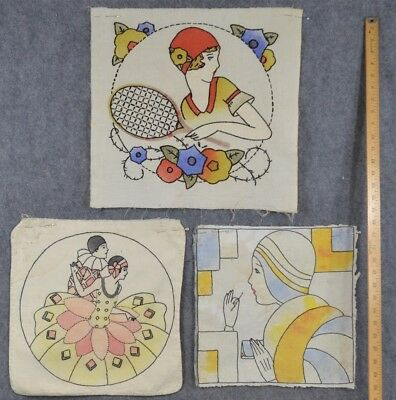 pillow covers embroidered colored 1920 flapper lot 3 antique original
