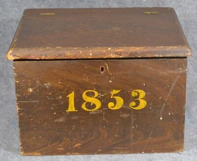 1853 box dated grain painted small storage  pine 14 in. antique original