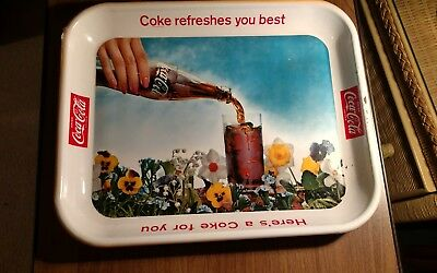 Original and Vintage 1961 Coca Cola  Tray  COKE REFRESHES YOU BEST   SODA  POP
