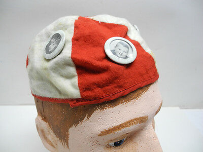 Original 1950's Red and White Beanie Cap Hat with 4 Photo Pins