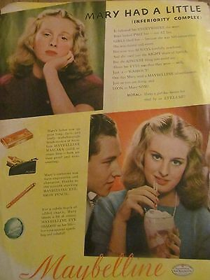 Maybelline, Makeup 1940's, Full Page Vintage Print Ad