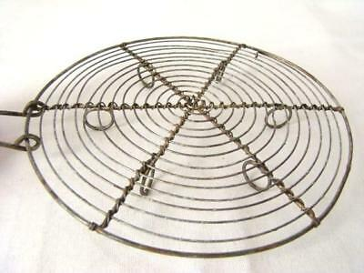Antique French Sturdy WIRE Cobweb TRIVET, Kitchen Pot Stand, Loop Feet, Hanging