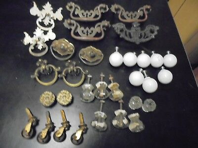 Lot Of Vintage Antique Brass + Glass  Drawer Pulls Some Good Some Bad Parts?