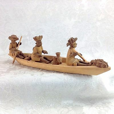 Folk Art African Wood Carving Primitive Men Woman on Boat Rowing Vintage Tribal