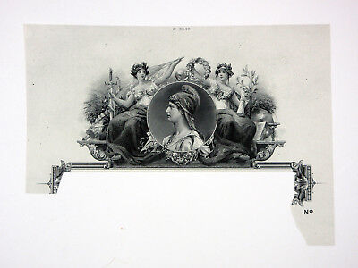 American Bank Note Co. Archives Intaglio Proof Vignette Allegorical Figures ABNC