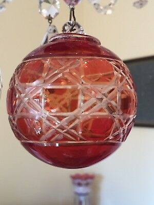 Large Antique Bohemian Red Cut To Clear Crystal Glass Ball Chandelier Prism