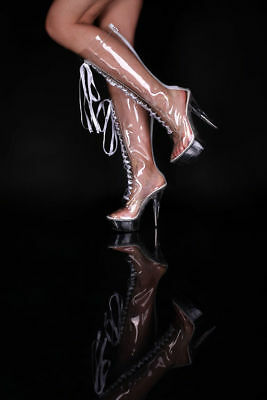 High Heels Platform Knee Boots Clubwear Fetish dominatrix LACING 36-43