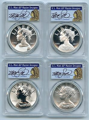 2017 Silver American Liberty Medal 4 Coin Set PCGS 70 FS Thomas Cleveland Native