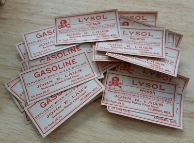 30 Vintage GASOLINE / LYSOL Poison Pharmacy Apothecary Labels NOT REPRODUCTIONS