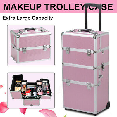 Aluminum 3 in 1 Rolling Makeup Trolley Train Case Box Organizer Salon Cosmetic