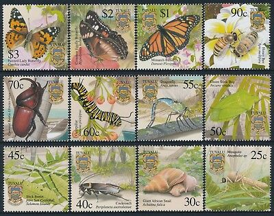 2001 Tuvalu Insects Set Of 12 Fine Mint Mnh