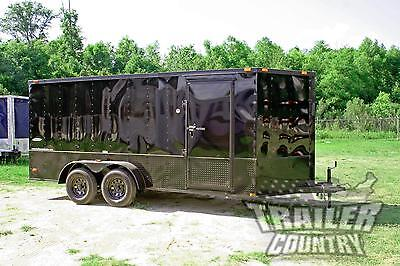 NEW 2018 Elite Series 7 x 16 V-Nose Enclosed Cargo Trailer w/ Black Out Package