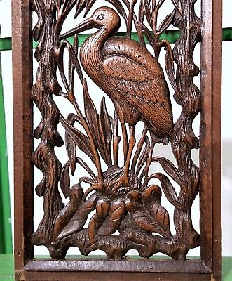 Paradise Lacework Lace Panel Antique French Hand Carved Wood Carving Miniature 3