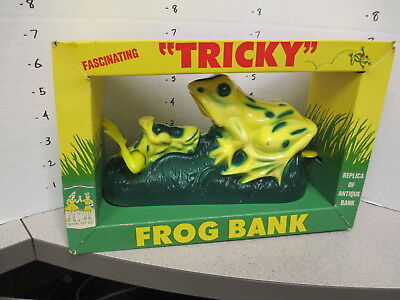 TRICKY FROG 1960s plastic coin mechanical bank BOXED unused antique replica