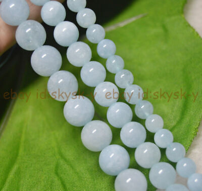 "Natural Aquamarine Round Genuine Gemstone Loose Beads 15"" Strand 6/8/10mm"