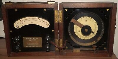 British Meter & Rheostat in wood box with Admiralty markings. Royal Navy?