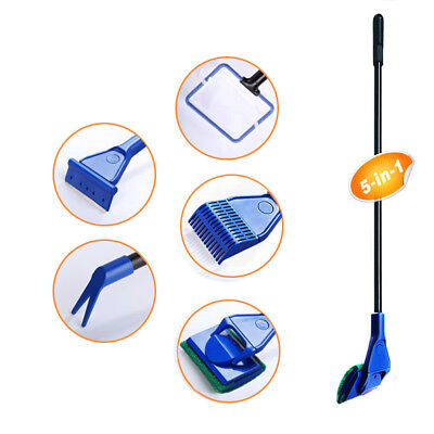 5 in 1 Glass Fish Tank Aquarium Glass Brush Cleaning Tool Fishnet Cleaner Kit DS
